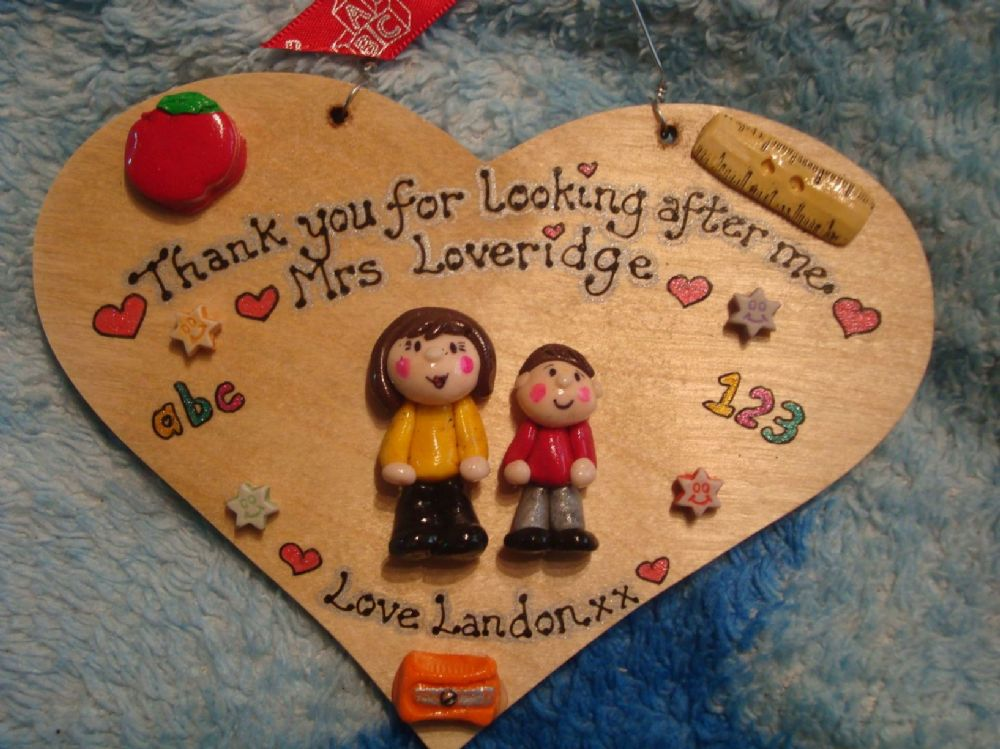 2 character Teacher /Teaching Assistant Classroom Personalised 3d Sign HEART Plaque Gift Handmade Any Phrasing